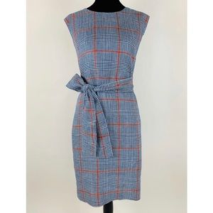 J.CREW Plaid Dress Italian Linen 10 Tie Waist